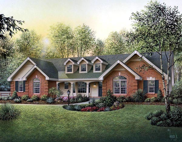 Cape Cod Country Ranch Southern Traditional House Plan 87817 Elevation