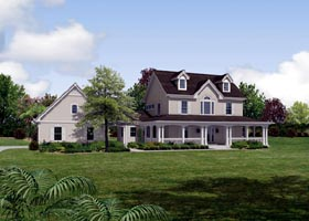 Traditional , Southern , Country House Plan 87818 with 4 Beds, 3 Baths, 2 Car Garage Elevation