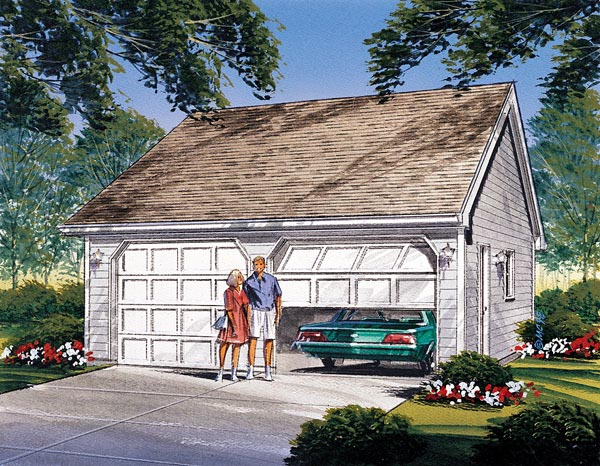 Traditional 2 Car Garage Plan 87828 Elevation
