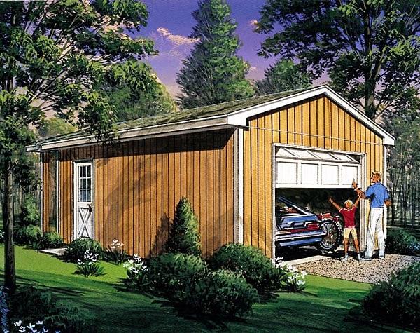 1 Car Garage Plan 87850 Elevation