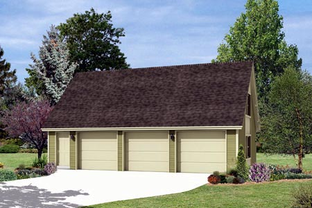 3 Car Garage Plan 87866 Elevation