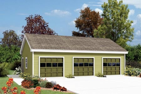 3 Car Garage Plan 87868 Front Elevation