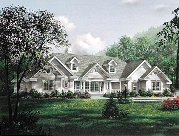 House Plan 87871 | Country Ranch Southern Traditional Victorian Style Plan with 2420 Sq Ft, 4 Bedrooms, 4 Bathrooms, 2 Car Garage Elevation