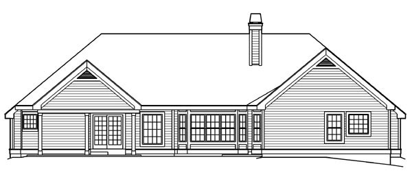 Country Ranch Southern Traditional Victorian House Plan 87871 Rear Elevation