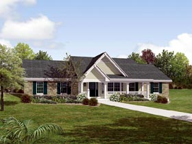 Country Ranch Southern Traditional House Plan 87872 Elevation