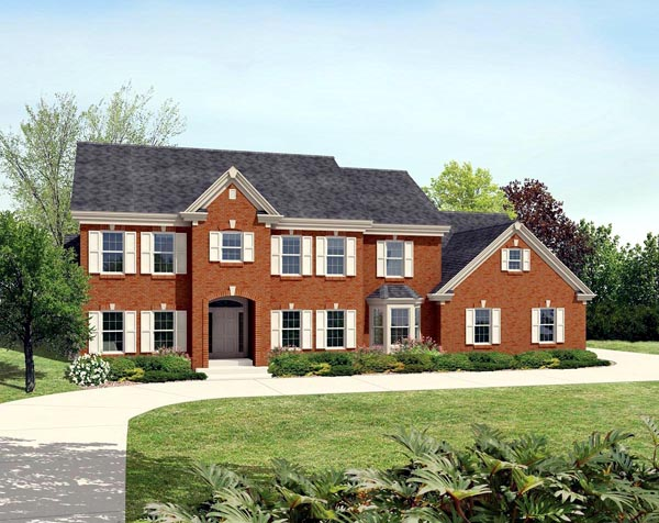 House Plan 87875 | Colonial Traditional Style Plan with 3978 Sq Ft, 4 Bedrooms, 5 Bathrooms, 3 Car Garage Elevation