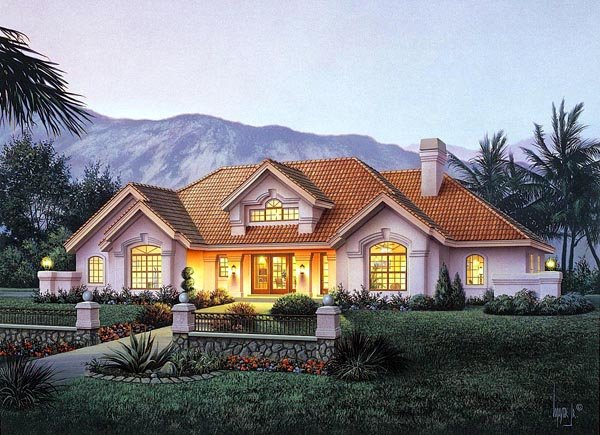 Country, Ranch, Southern, Southwest House Plan 87882 with 4 Beds, 4 Baths, 3 Car Garage Elevation