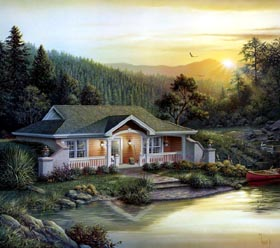 Traditional , Ranch , Craftsman , Country , Cottage , Cabin House Plan 87887 with 1 Beds, 1 Baths Elevation