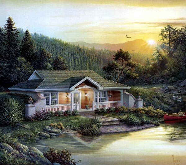 Elevation of Cabin   Cottage   Country   Craftsman   Ranch   Traditional   House Plan 87887