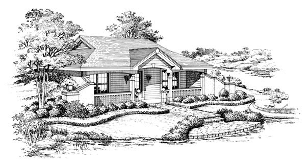 Cabin, Cottage, Country, Craftsman, Ranch, Traditional House Plan 87887 with 1 Beds, 1 Baths Picture 3