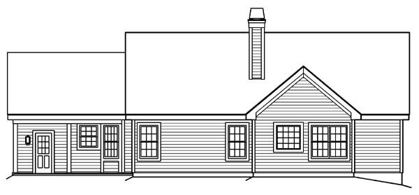 Bungalow Country Ranch Traditional Rear Elevation of Plan 87889