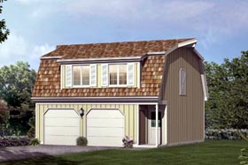 2 Car Garage Apartment Plan 87892 with 1 Beds, 1 Baths Elevation