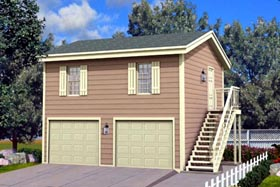 2 Car Garage Apartment Plan 87896 with 1 Beds, 1 Baths Elevation
