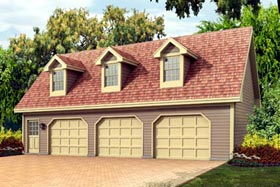 3 Car Garage Apartment Plan 87898 with 1 Beds, 1 Baths Elevation