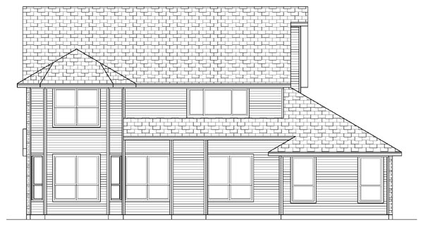 Country , Farmhouse , Rear Elevation of Plan 87903