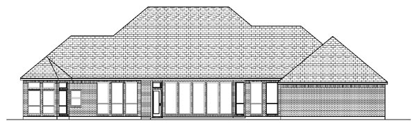 European House Plan 87906 with 4 Beds, 3 Baths, 3 Car Garage Rear Elevation