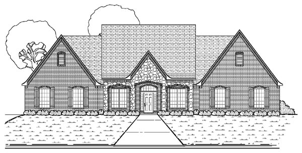 Traditional House Plan 87907 with 3 Beds , 3 Baths , 3 Car Garage Elevation