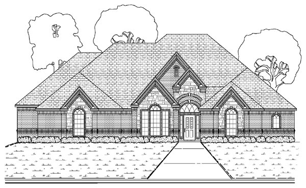 European House Plan 87908 with 4 Beds, 3 Baths, 3 Car Garage Elevation