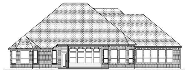 European House Plan 87908 with 4 Beds, 3 Baths, 3 Car Garage Rear Elevation