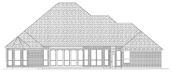 European House Plan 87910 with 3 Beds, 3 Baths, 3.5 Car Garage Rear Elevation