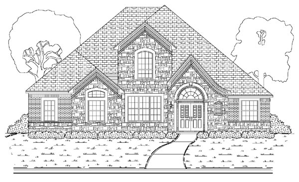 European House Plan 87911 with 4 Beds, 3 Baths, 3.5 Car Garage Elevation
