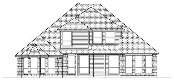 European House Plan 87911 with 4 Beds, 3 Baths, 3.5 Car Garage Rear Elevation