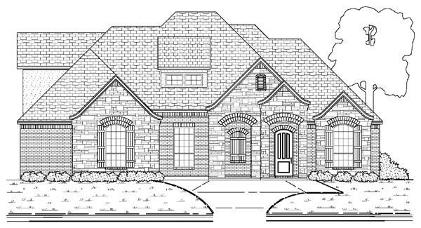 European House Plan 87912 with 4 Beds, 3 Baths, 2 Car Garage Elevation