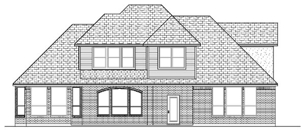 European House Plan 87912 with 4 Beds, 3 Baths, 2 Car Garage Rear Elevation