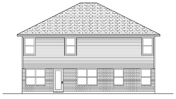 European , Rear Elevation of Plan 87914