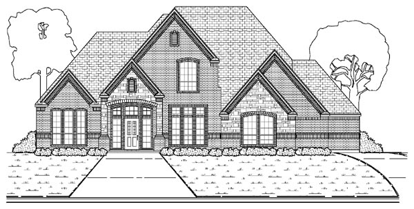European House Plan 87921 with 4 Beds, 3 Baths, 3 Car Garage Elevation