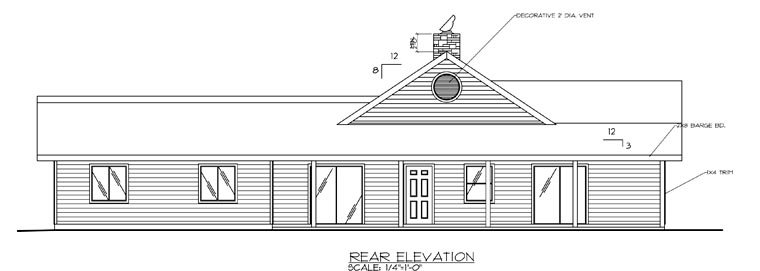 European House Plan 87921 with 4 Beds, 3 Baths, 3 Car Garage Rear Elevation
