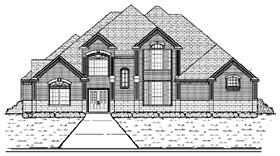 House Plan 87927 | European Style Plan with 3716 Sq Ft, 5 Bedrooms, 4 Bathrooms, 3 Car Garage Elevation