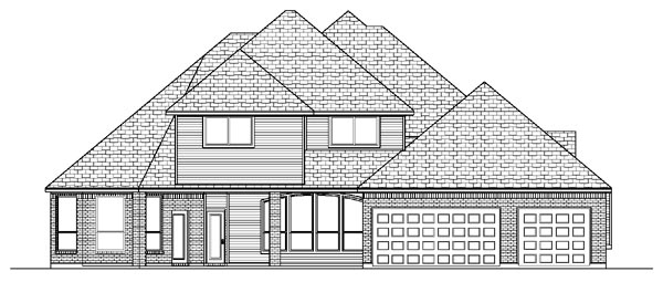 European House Plan 87927 with 5 Beds, 4 Baths, 3 Car Garage Rear Elevation