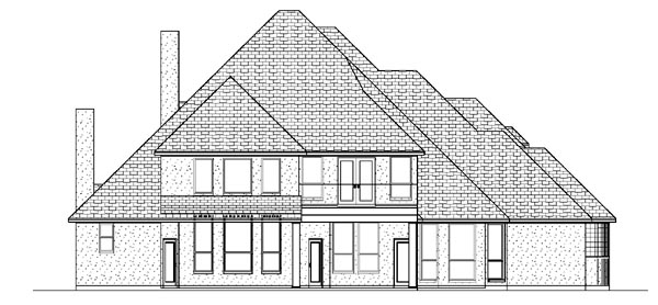 European House Plan 87932 with 4 Beds, 4 Baths, 3 Car Garage Rear Elevation