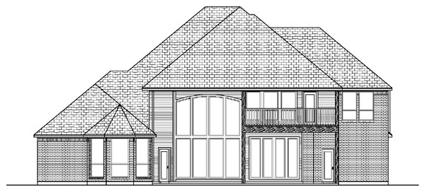 European House Plan 87937 with 4 Beds, 4 Baths, 3 Car Garage Rear Elevation