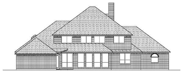 Colonial, European House Plan 87945 with 6 Beds, 6 Baths, 4 Car Garage Rear Elevation