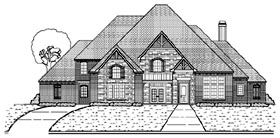 European House Plan 87947 with 5 Beds, 6 Baths, 4 Car Garage Elevation