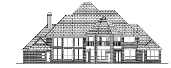 European House Plan 87947 with 5 Beds, 6 Baths, 4 Car Garage Rear Elevation