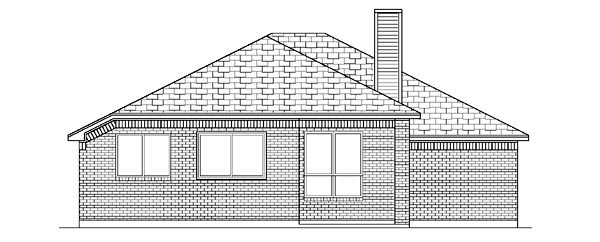 Traditional House Plan 87949 with 4 Beds, 2 Baths, 2 Car Garage Rear Elevation