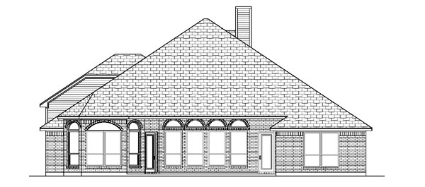 House Plan 87964 | European Style Plan with 2636 Sq Ft, 3 Bedrooms, 3 Bathrooms, 2 Car Garage Rear Elevation