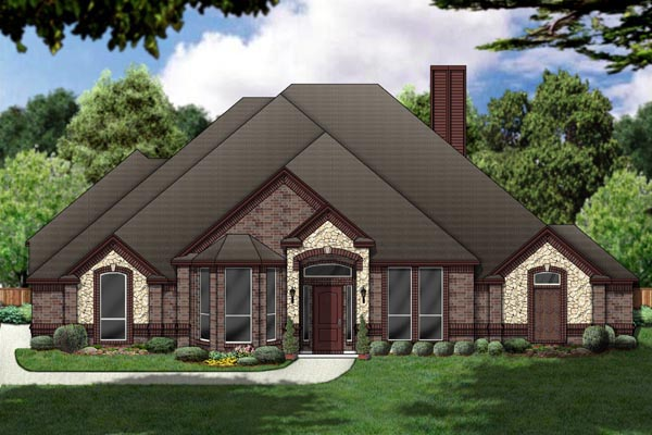 House Plan 87965 | European Style Plan with 2674 Sq Ft, 3 Bedrooms, 3 Bathrooms, 3 Car Garage Elevation