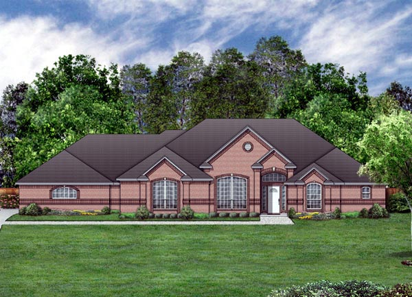 House Plan 87966 | European Style Plan with 2758 Sq Ft, 4 Bedrooms, 3 Bathrooms, 3 Car Garage Elevation