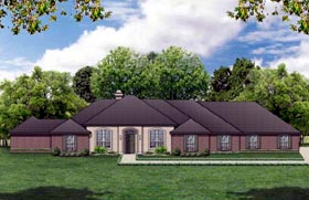 House Plan 87967 | European Style Plan with 2758 Sq Ft, 4 Bedrooms, 3 Bathrooms, 3 Car Garage Elevation