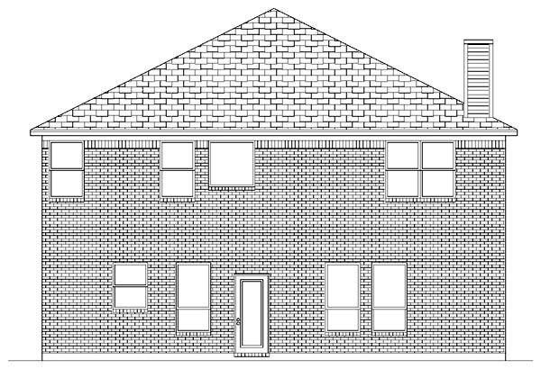 Traditional Rear Elevation of Plan 87971