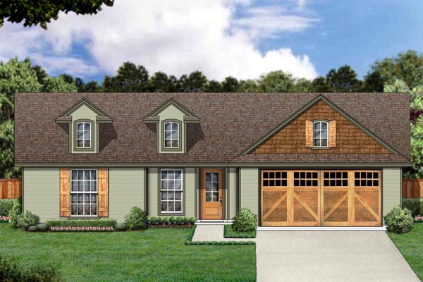 House Plan 87973 | Craftsman Style Plan with 1173 Sq Ft, 3 Bedrooms, 2 Bathrooms, 2 Car Garage Elevation
