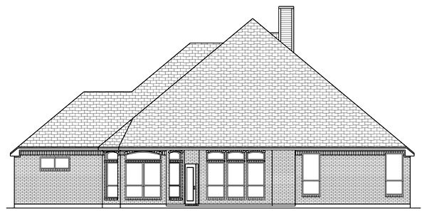 House Plan 87974 | European Style Plan with 2605 Sq Ft, 3 Bedrooms, 3 Bathrooms, 3 Car Garage Rear Elevation