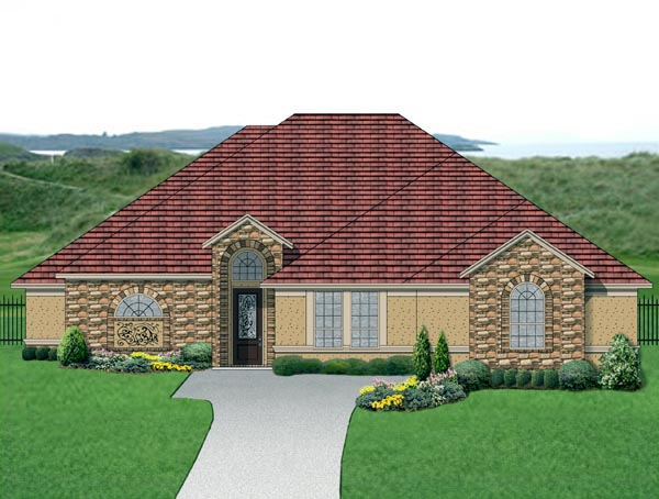 House Plan 87977 | Mediterranean Traditional Style Plan with 2856 Sq Ft, 4 Bedrooms, 3 Bathrooms, 3 Car Garage Elevation