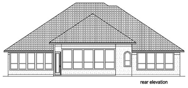 House Plan 87977 | Mediterranean Traditional Style Plan with 2856 Sq Ft, 4 Bedrooms, 3 Bathrooms, 3 Car Garage Rear Elevation