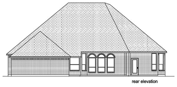 Traditional , European House Plan 87980 with 4 Beds, 3 Baths, 2 Car Garage Rear Elevation