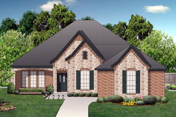 European , Traditional House Plan 87985 with 4 Beds, 2 Baths, 2 Car Garage Elevation